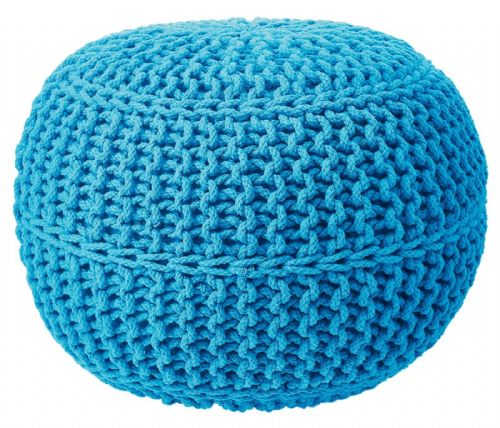 100% COTTON ROUND FOOT STOOL BRAIDED HANDMADE CUSHION DOUBLE KNITTED POUFFE TEAL COLOUR
